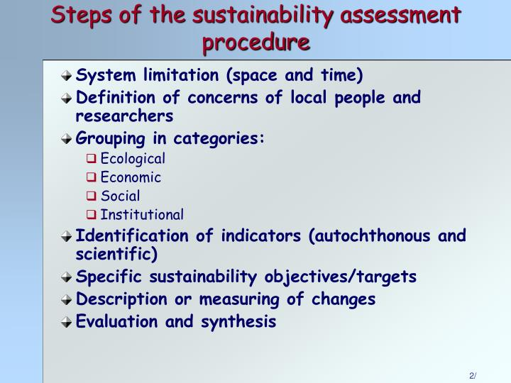 Steps of the sustainability assessment procedure