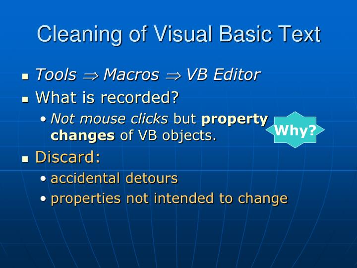 Cleaning of Visual Basic Text