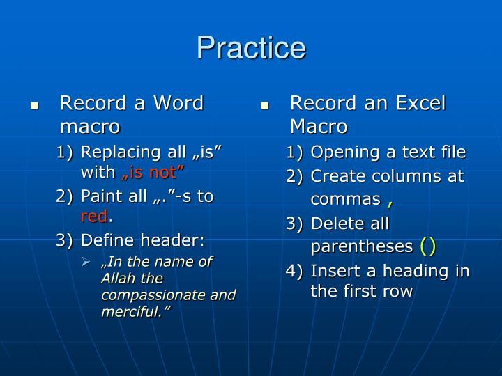 Record a Word macro