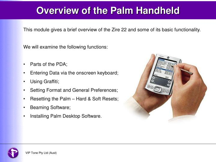 overview of the palm handheld n.