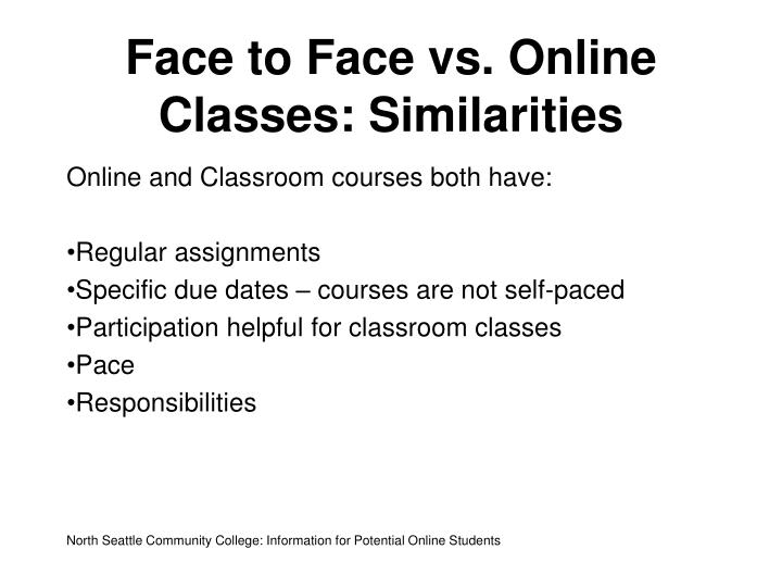 Face to face vs online classes similarities