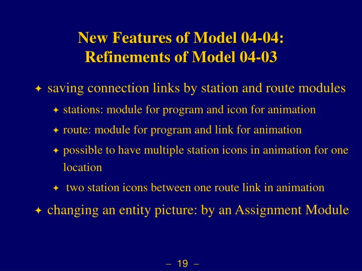 New Features of Model 04-04: