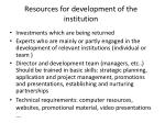 resources for development of the institution
