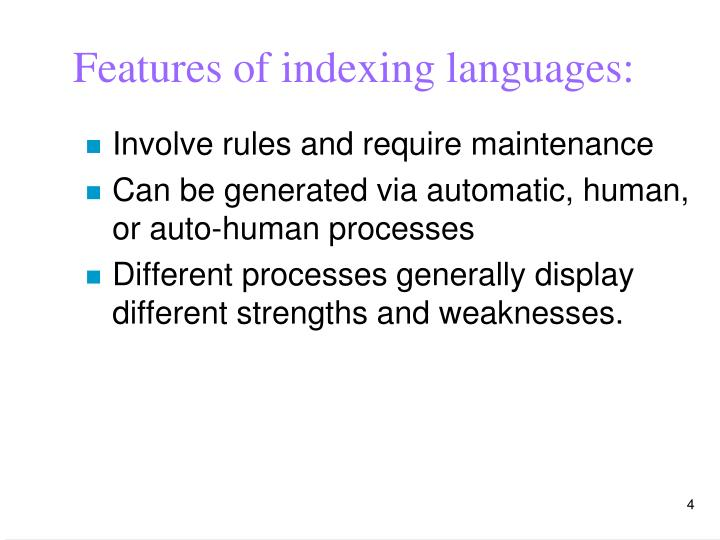 Features of indexing languages: