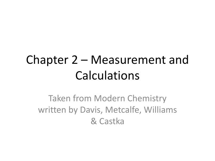 chapter 2 measurement and calculations n.