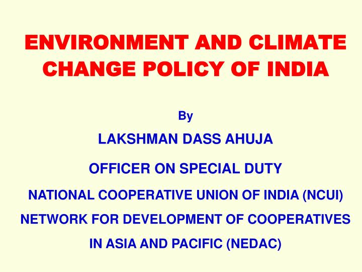 environment and climate change policy of india n.