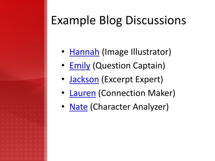 Example Blog Discussions