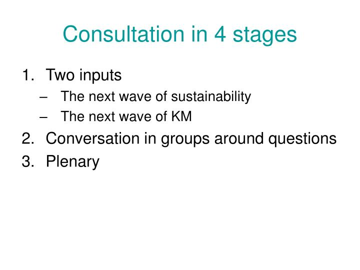 Consultation in 4 stages