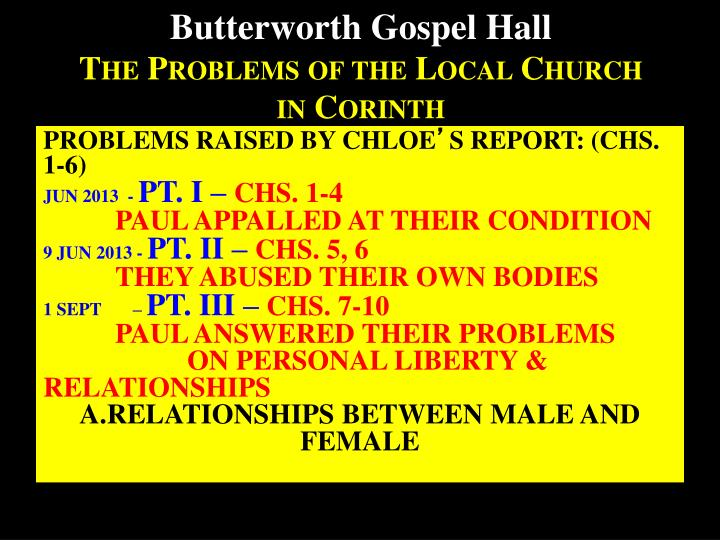 butterworth gospel hall the problems of the local church in corinth n.