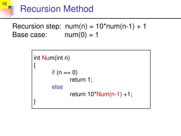 Recursion Method