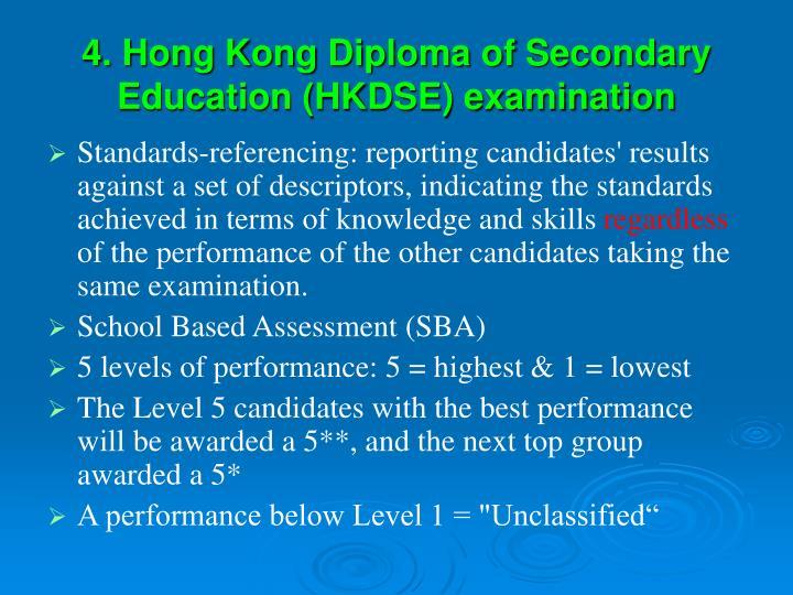 4. Hong Kong Diploma of Secondary Education (HKDSE) examination