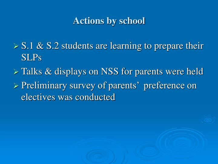 Actions by school