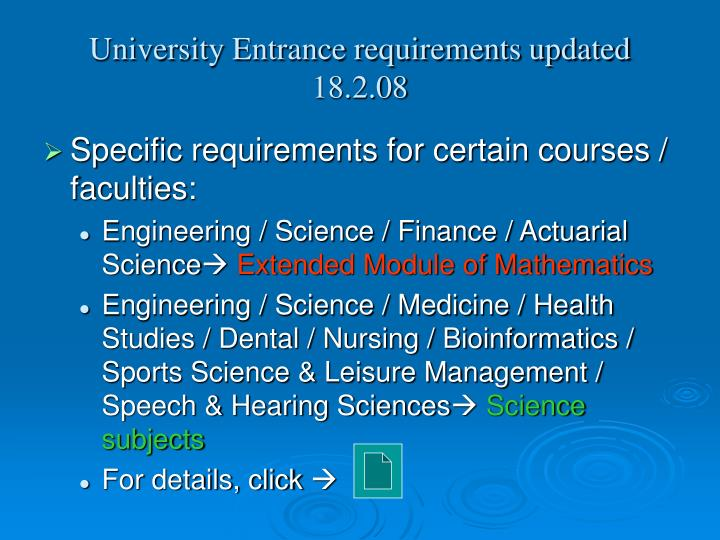 University Entrance requirements updated 18.2.08