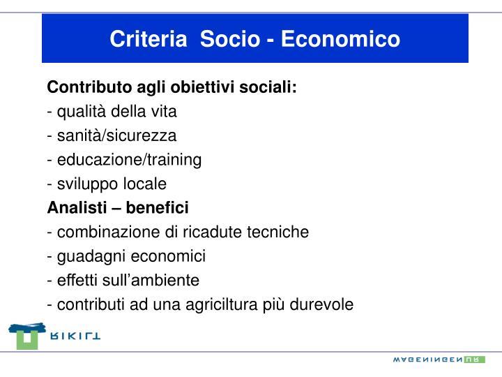 Criteria  Socio - Economico