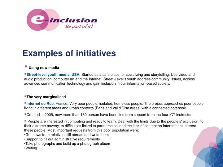 Examples of initiatives