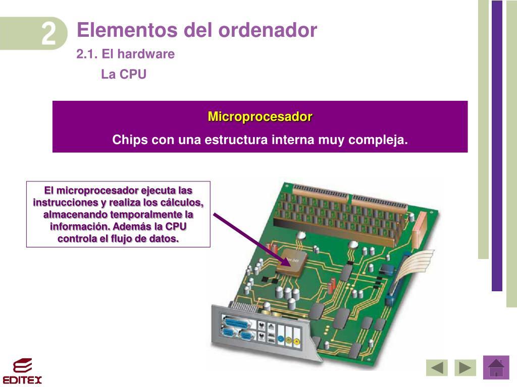 Ppt 1 El Ordenador 2 Elementos Del Ordenador 2 1 El