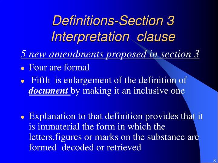 Definitions section 3 interpretation clause
