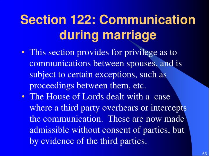 Section 122: Communication during marriage