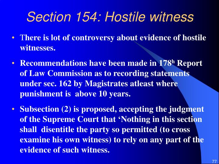 Section 154: Hostile witness