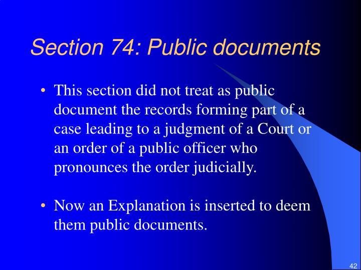 Section 74: Public documents