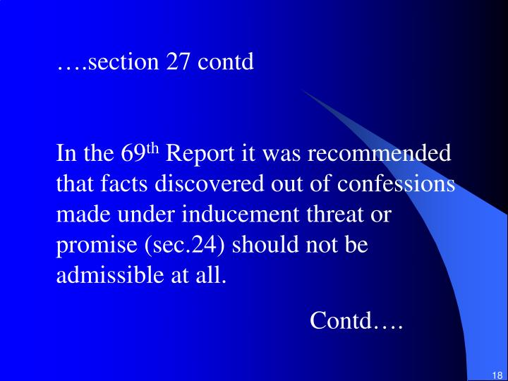 ….section 27 contd