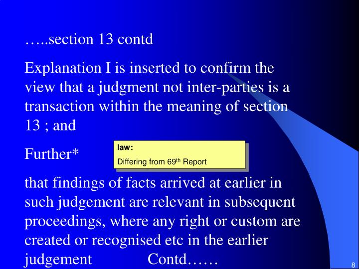 …..section 13 contd