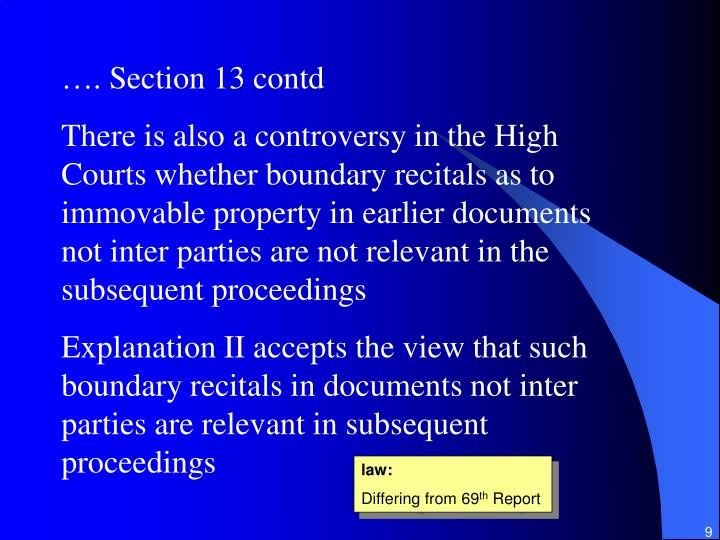 …. Section 13 contd