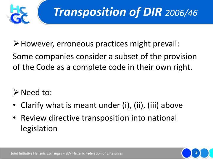 Transposition of dir 2006 461