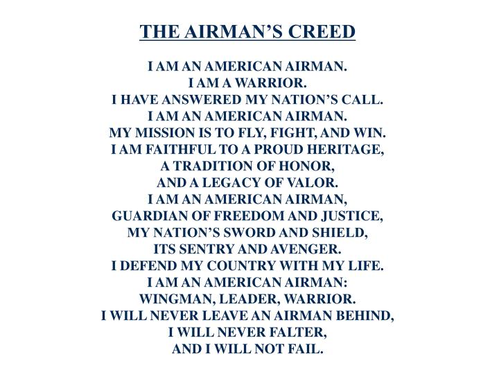 Ppt the airmans creed and code of conduct powerpoint presentation the airmans creed altavistaventures Images