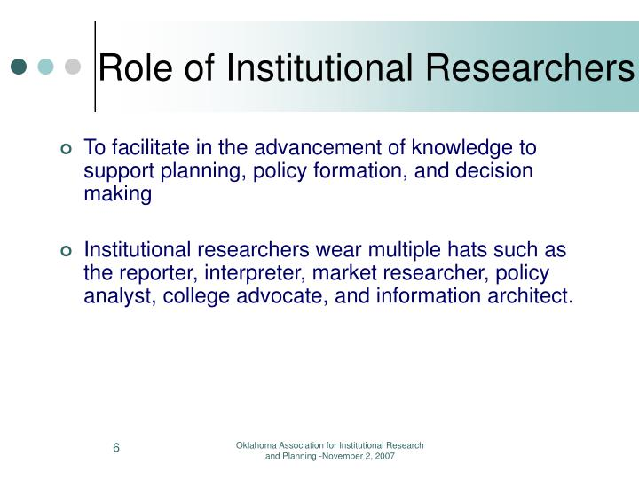 Role of Institutional Researchers