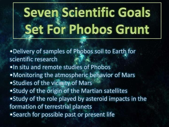 Seven Scientific Goals