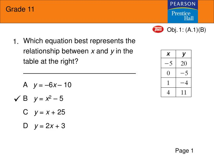 which equation best represents the relationship between x and y in the table at the right n.