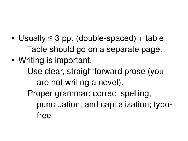 Usually ≤ 3 pp. (double-spaced) + table