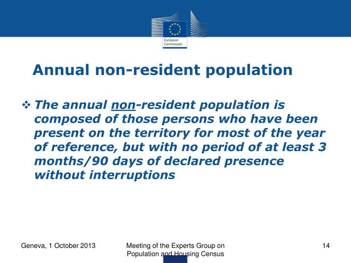 Annual non-resident population