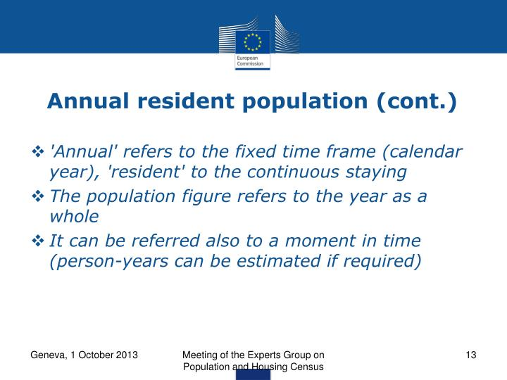 Annual resident population (cont.)
