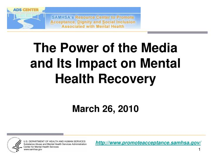 the power of the media and its impact on mental health recovery n.