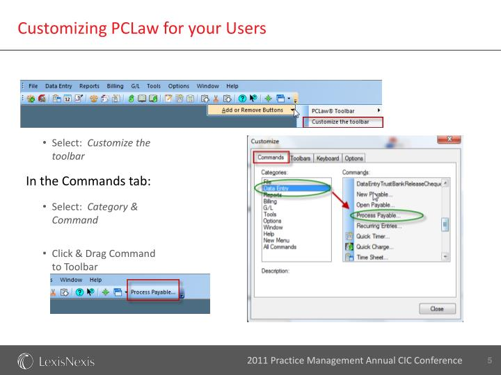 Customizing PCLaw for your Users
