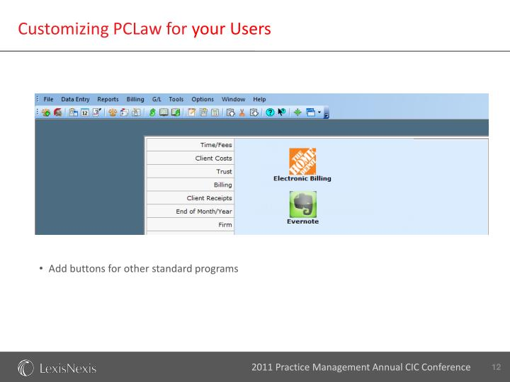 Customizing PCLaw for