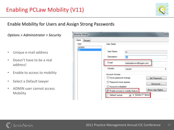 Enabling PCLaw Mobility (V11)