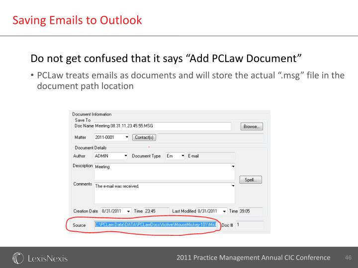 Saving Emails to Outlook