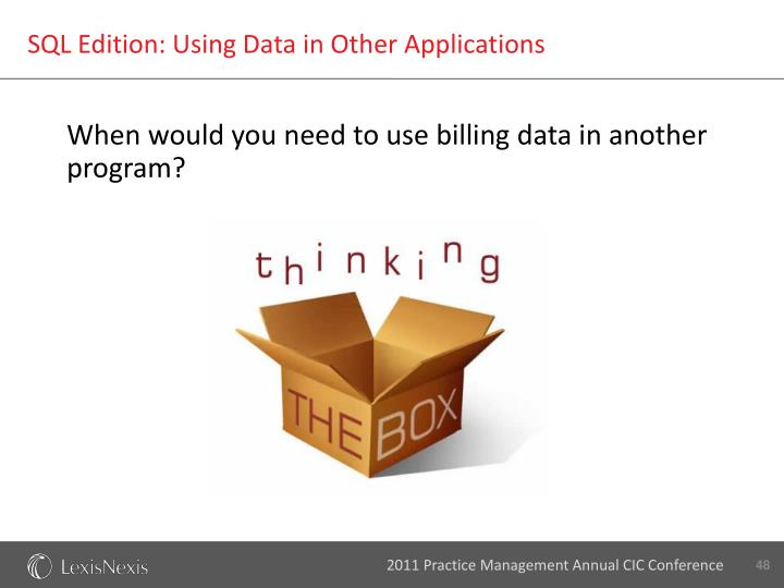 SQL Edition: Using Data in Other Applications