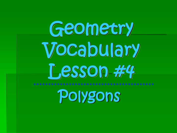 geometry vocabulary lesson 4 n.