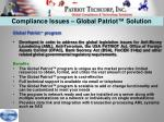 compliance issues global patriot solution