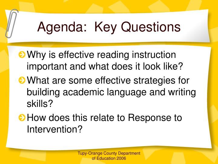 Agenda key questions
