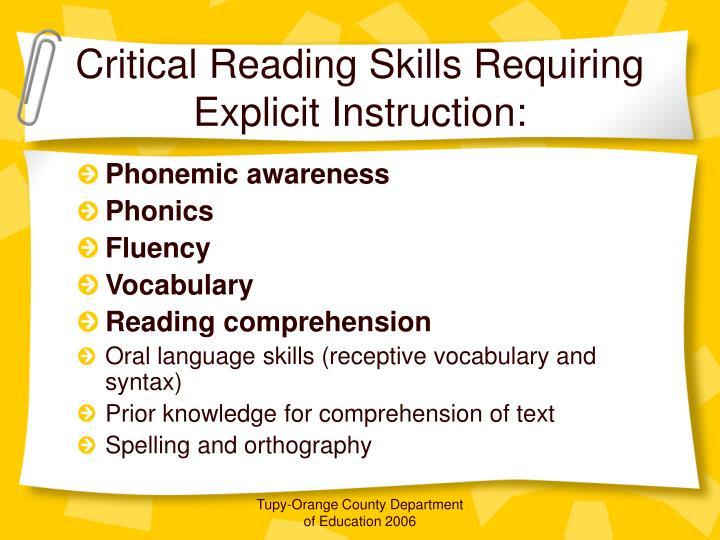 Critical Reading Skills Requiring