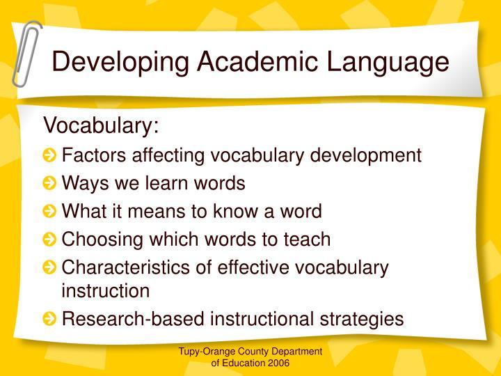 Developing Academic Language