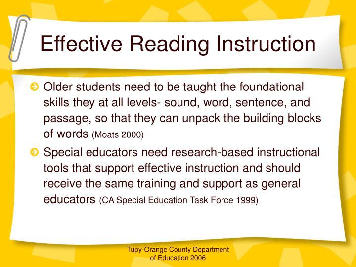 Effective Reading Instruction