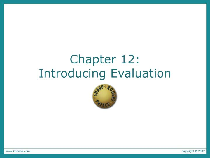 chapter 12 introducing evaluation n.