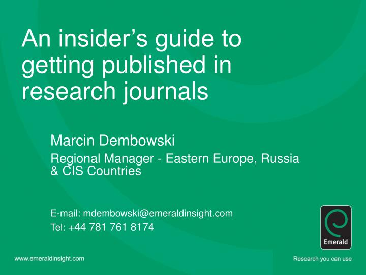 an insider s guide to getting published in research journals n.
