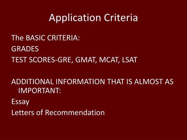 Application Criteria
